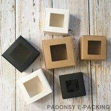 Großhandel 50 stücke Kraft Papier Box Klar PVC Fenster Seife Boxen Schmuck Geschenk Box Verpackung Box Hochzeit Bevorzugt Süßigkeit Box