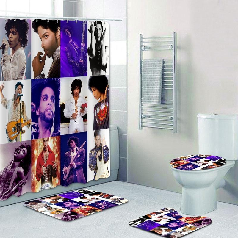 hipster prince purple rain shower curtains set bathroom curtains for bathtub toilet rug carpet bath mat prince roger nelson gift