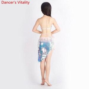 Image 2 - Mulheres dança do ventre 2 Tipos de roupas Que Bling Bling Do Terno Dança Bra + Saia 2Pcs Dança Latina Terno Roupas Da Moda S,M,L