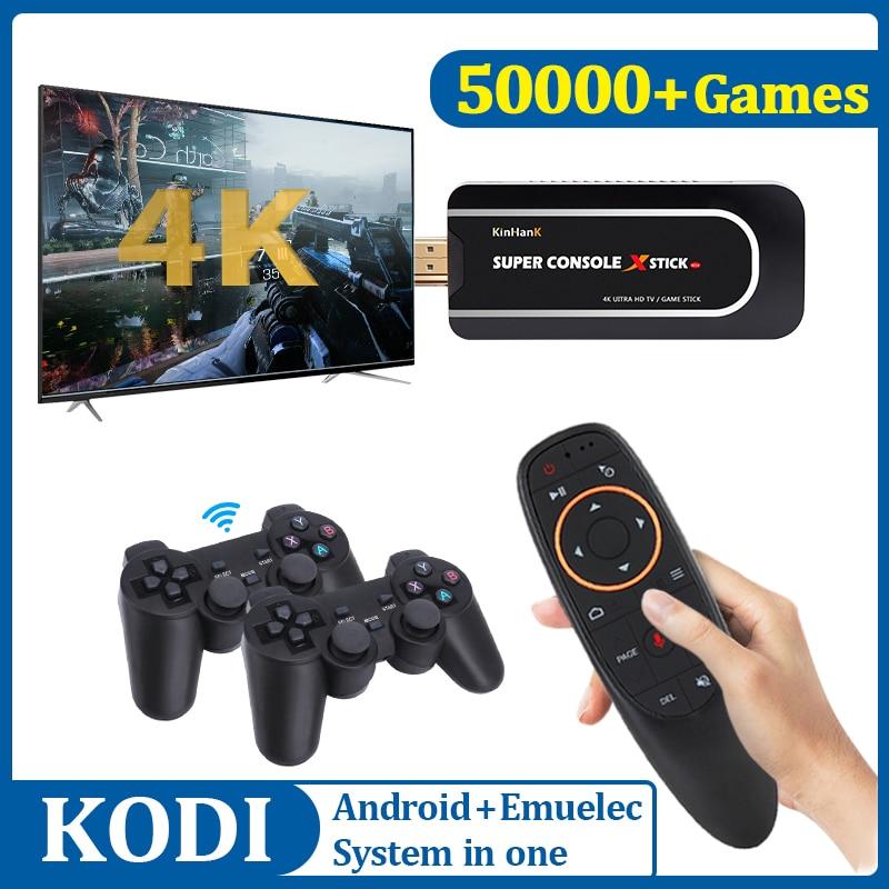 Console retro do jogo de vídeo da tevê de 4k hd com 50000 jogos com 2.4g controladores duplos mini x-vara super do console de wifi para psp/n64/dc/ps1