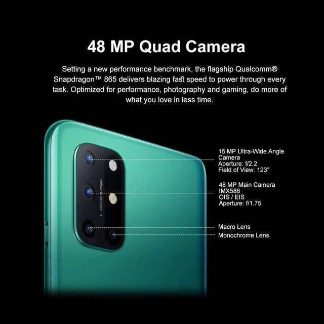 Oneplus 8 T 8 T 5G SmartPhone 120Hz fluide AMOLED affichage Snapdragon 865 65W Charge de chaîne un plus 8 T téléphone portable 4