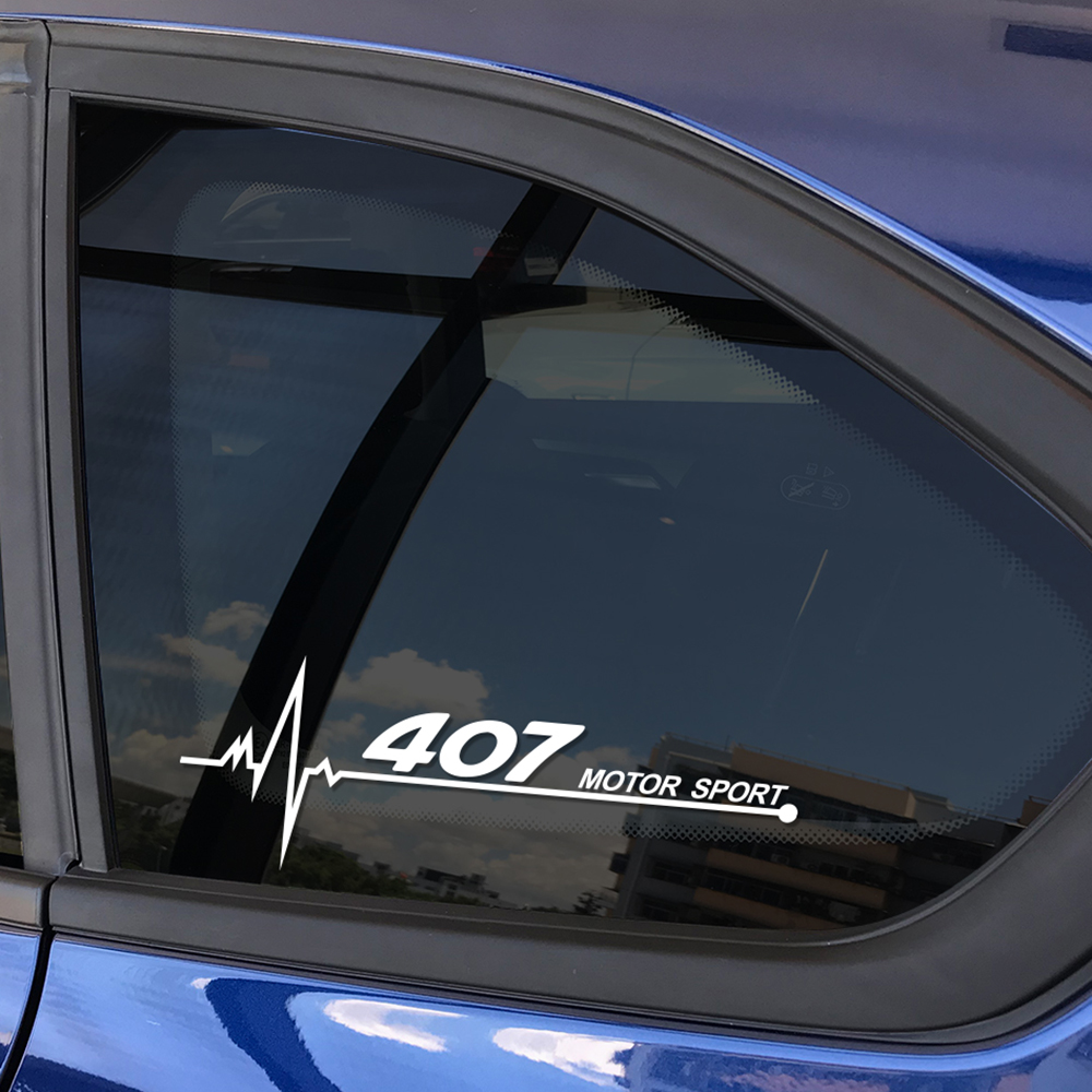 2PCS Car Stickers And Decals For Peugeot 407 Automobile Vinyl Side Window Decorative Reflective Waterproof Decal Car Accessories
