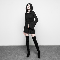 PUNKRAVE Women's Gothic Witch Half Skirt Knit Trumpet Sleeve Metal Hoop Slim Fit Personality Sexy Long Sleeve Dress