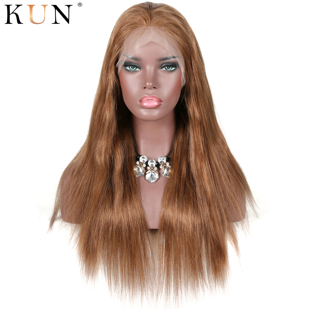 #10 Chocolate Brown Ombre Lace Front Human Hair Wigs Chinese Remy Straight 13x6 Lace Front Wig Pre Plucked 150 180 Density