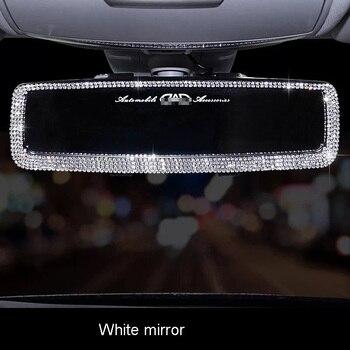 Hot Rhinestone Car Interior Rearview Mirror Decor Charm Crystal Bling Diamond Ornament Rear View Mirror Cover Auto Accessories 4