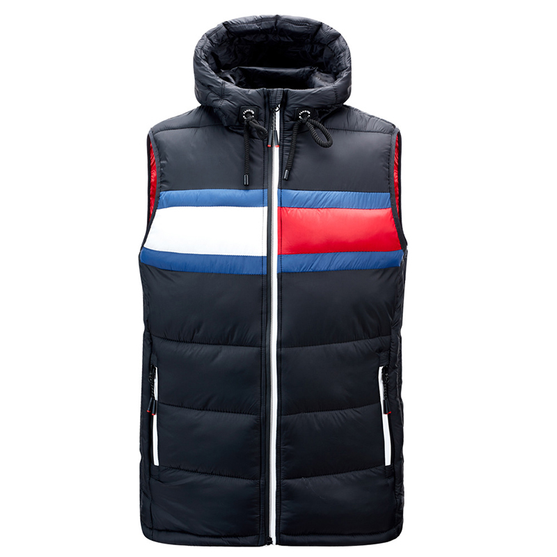 Men's Autumn And Winter Waistcoat Stitching Jacket Lightweight Cotton Waterproof And Anti-Theft Zipper Comfortable Outdoor