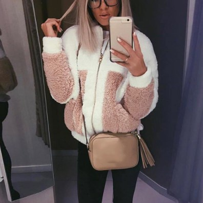 Patchwork Soft Coat Turn-Down Collar Women Autumn   Basic     Jacket   Coat Female Fluffy Teddy Coat Outwear