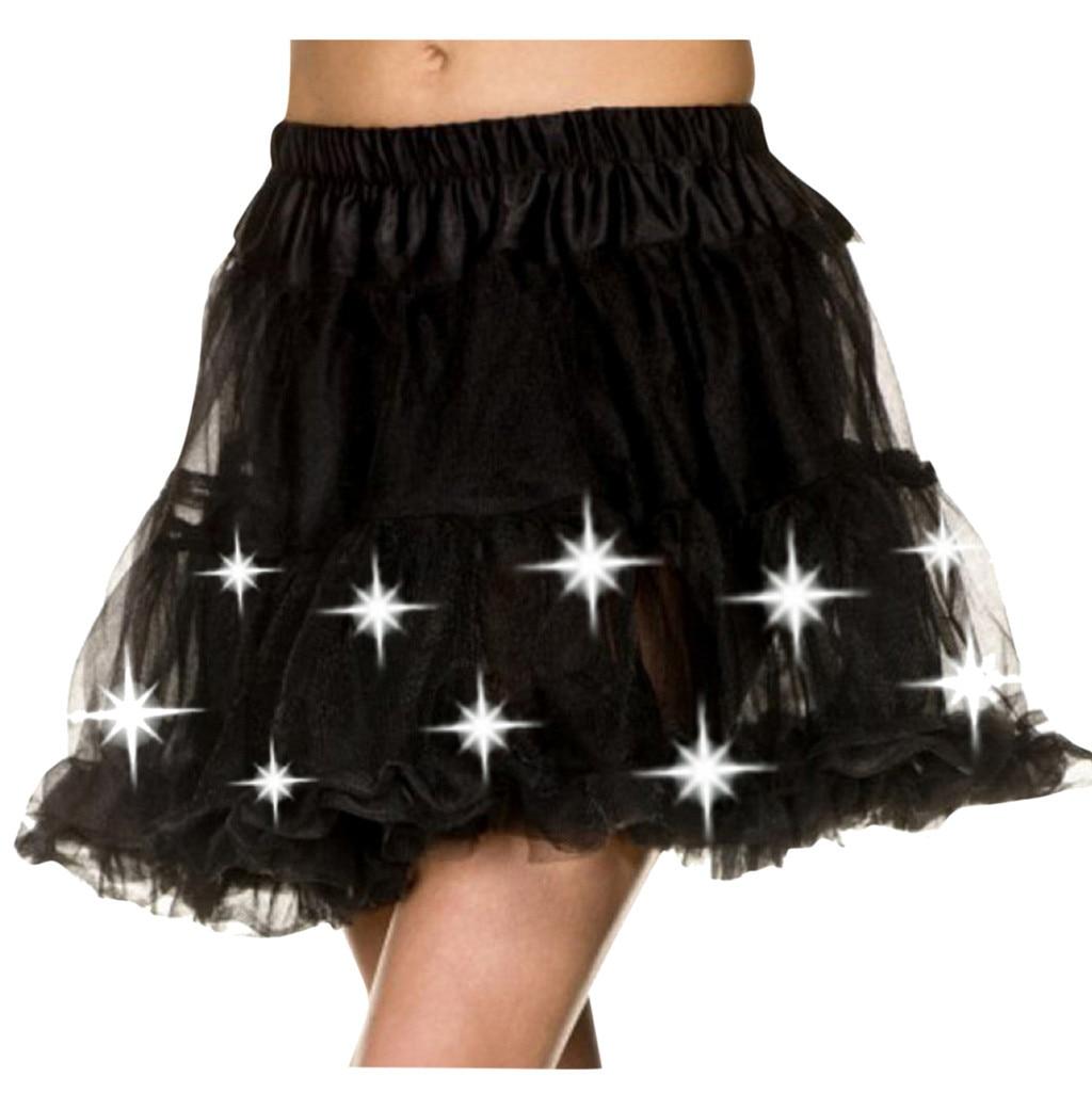 Women Tutu LED Skirt Adult Mini Skirt Women Girls Mesh Loose Dance Party Ball Gown Skirts Party Costume Clothing 2019 New Z0905