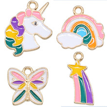 6 Pcs Enamel Rainbow Dier Eenhoorn Vlinder Armband Connector Diy Armband Ketting Hanger Legering Accessoires Animal Charm Diy(China)