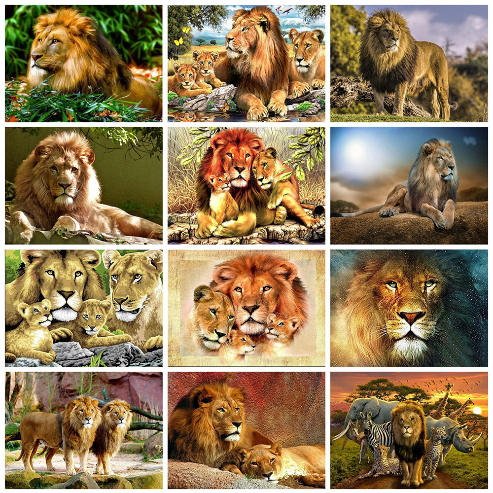 Evershine Diamond Painting Lion Full Square Drill Cross Stitch Mosaic Diamond Embroidery Animals Rhinestone Pictures Home Decor