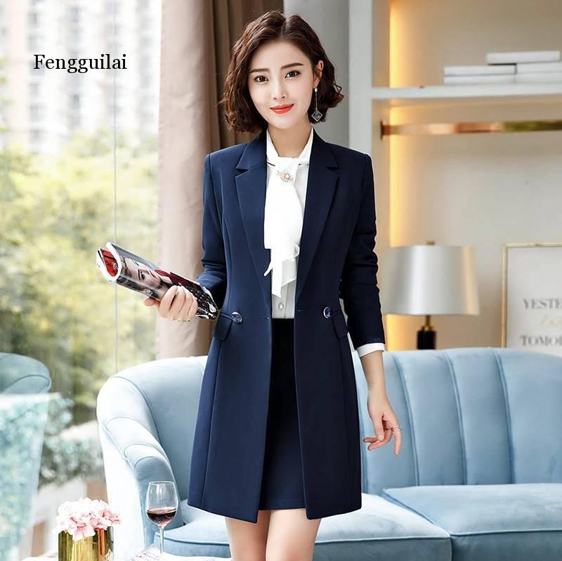 Autumn and winter thick suit suit professional wear female fashion temperament slim long business OL jacket skirt suit Two-piece
