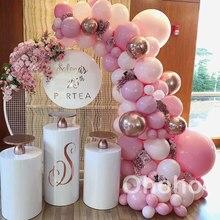 Ohoho pastel balões garland arco kit macaron rosa pêssego 25th aniversário festa de casamento chá de bebê decoração aniversário