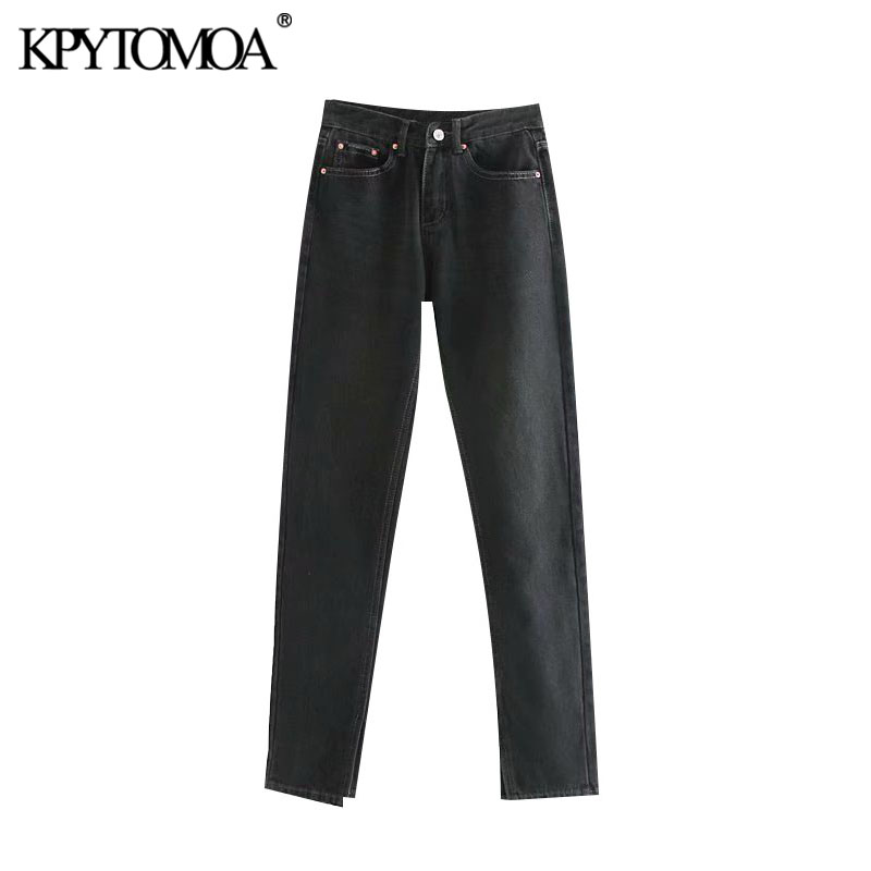 Vintage Chic Washed Effect Straight Hem Split Jeans Women 2020 Fashion Zipper Fly Pockets Low Rise Denim Pants Female Trousers
