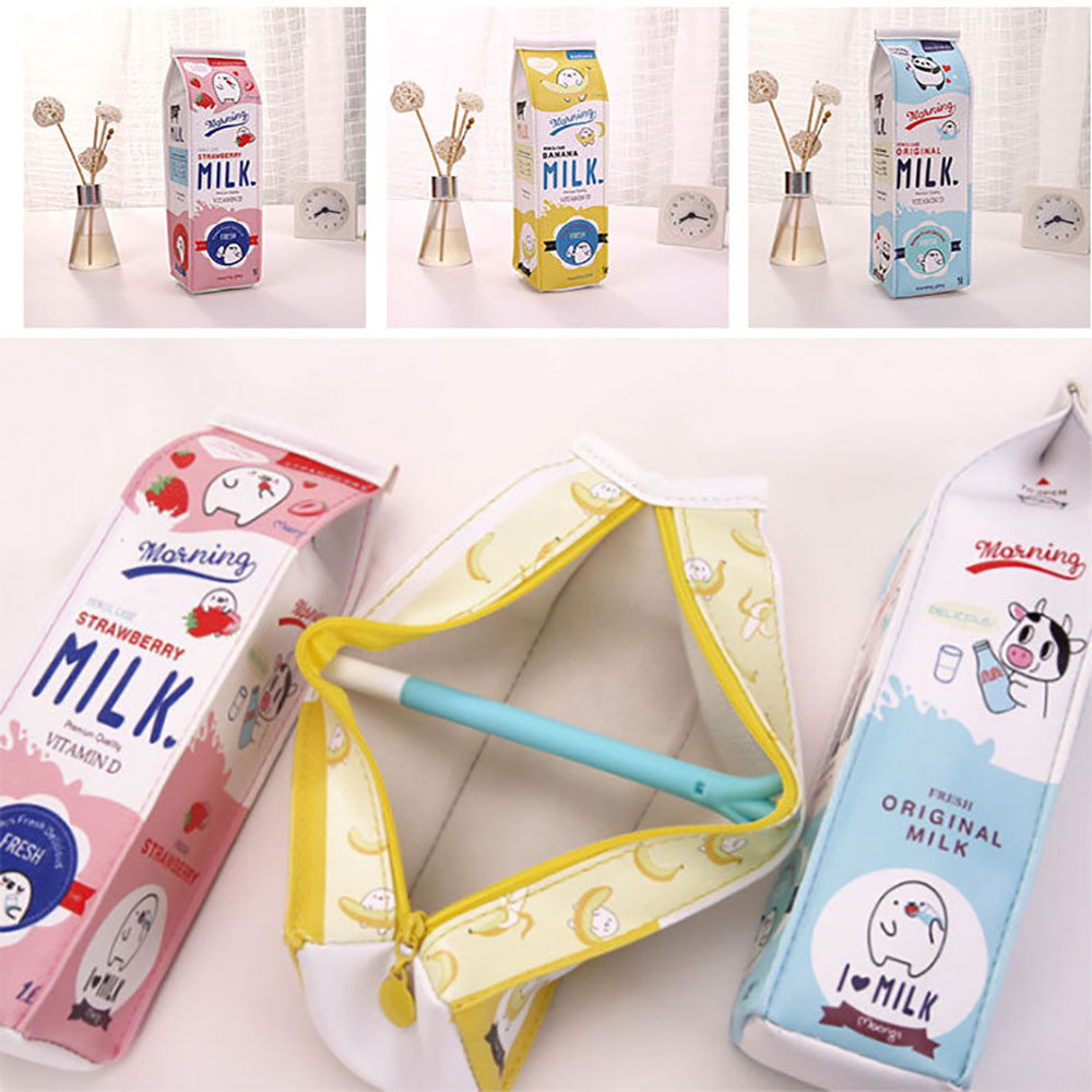 1 Pcs Cute Pencil Case Creative Milk Pencil Bag For Kids Novelty Item Pen Box School Stationery Bag Supplies