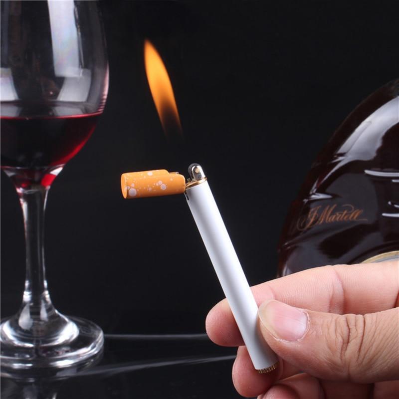 Компактная мини-зажигалка, креативная Бутановая газовая металлическая зажигалка в форме сигареты, карманная уличная зажигалка с колесиком...