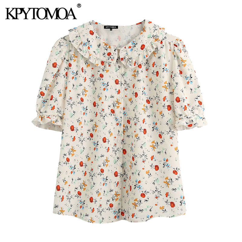 KPYTOMOA Women 2020 Sweet Fashion Floral Print Ruffled Blouses Vintage Lapel Collar Short Sleeve Female Shirts Blusas Chic Tops