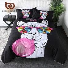 Beddingoutlet Lama Dekbedovertrek Regenboog Glas Beddengoed Set Roze Bubble Huishoudtextiel Cartoon Alpaca Eenhoorn Bed Dekbed Voor Kinderen