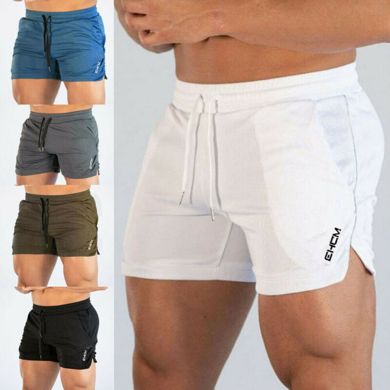 Meihuida Mens Gym Training Shorts Casual Workout Sports Fitness Running Shorts Men Elastic Stretchy Pocket Fast Dry Solid Shorts