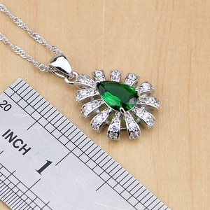 Image 3 - 925 Silver Jewelry Green Cubic Zirconia White Crystal Jewelry Sets For Women Earrings/Pendant/Necklace/Rings/Bracelet