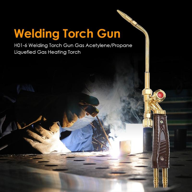 H01-6 Welding Torch Gun Copper Applicable Oxygen/Acetylene/Propane Liquefied Gas Heating Torch Jet Suction Torch 41x65x60mm