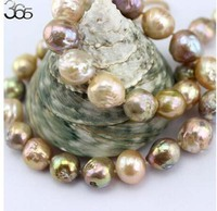 10 12mm Colorful Genuine Natural Freshwater Edison Reborn Round Large Pearl Bead Clasp Necklace 18inch