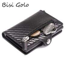 Bisi Goro RFID Metal Card Holder Button Coin Wallet Protection Fashion Carbon Fiber Wallet Men Slim Wallet Anti-theft Card Case cheap Unisex Solid 6 2cm 0 1kg CZ06 9 52cm Card ID Holders Credit Card Hasp Coin Purse Button Wallet Credit Card Holder Women Card Holder