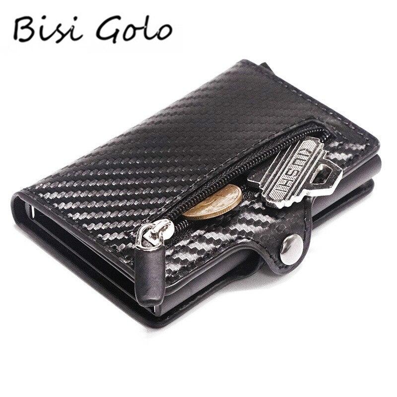 Bisi Goro RFID Metal Card Holder Button Coin Wallet Protection Fashion Carbon Fiber Wallet Men Slim Wallet Anti-theft Card Case