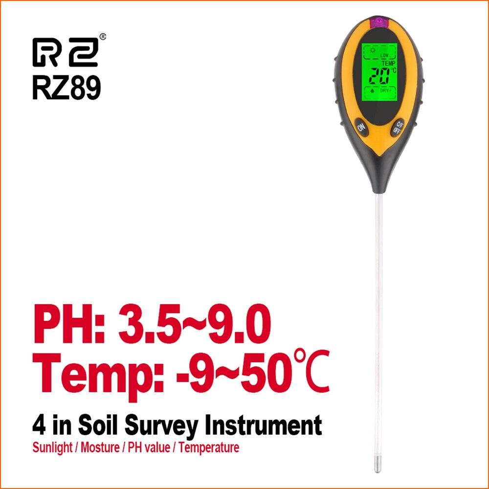 RZ 4 IN 1 Soil Tester Humidity Detector Digital PH Meter Soil Moisture Monitor Hygrometer Gardening Plant Lignt Sunlight Tester