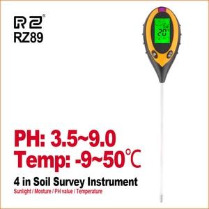 RZ 4 IN 1 Soil Tester Humidity Detector Digital PH Meter Soil Moisture Monitor Hygrometer Gardening Plant Lignt Sunlight Tester(China)
