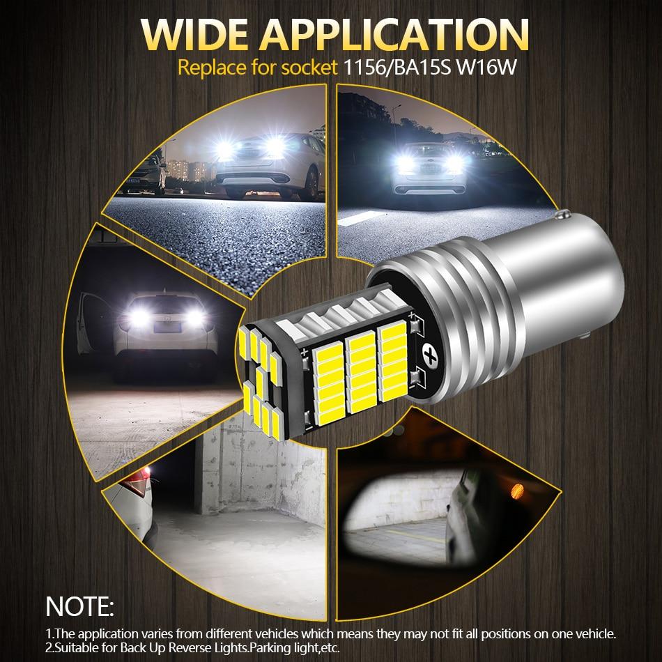 AILEO 2PCS 1156 BA15S P21W S25 7506 LED Bulbs High Power 45pcs 4014SMD Super Bright 1200LM Replace For Car Reversing Light White 6