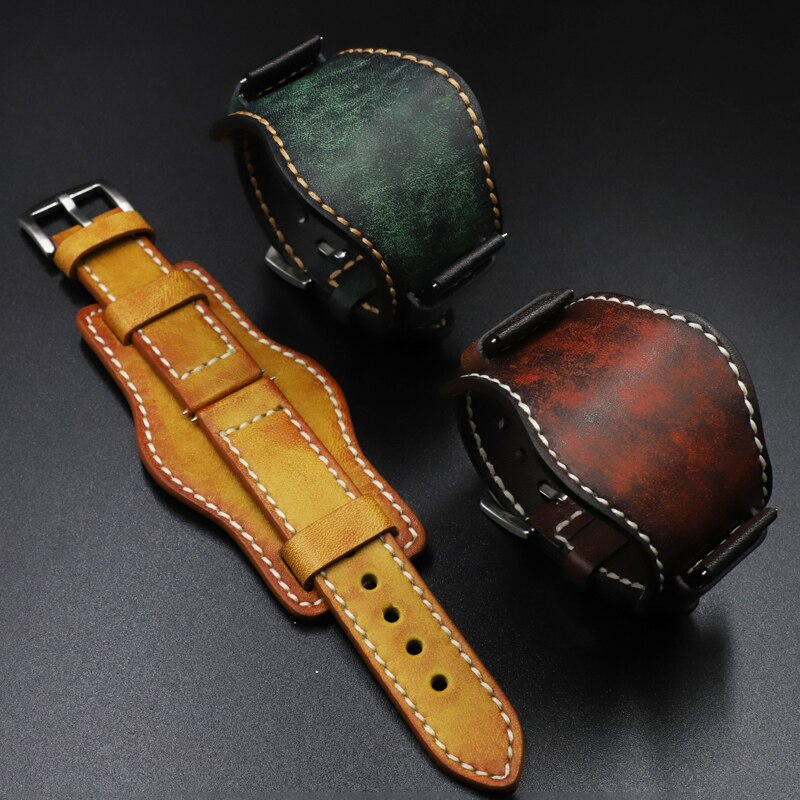 Onthelevel Leather Cuff Watch Band 22mm 24mm Watch Strap With Mat Wrist Protection Yellow Red Watchband For Fossil #D