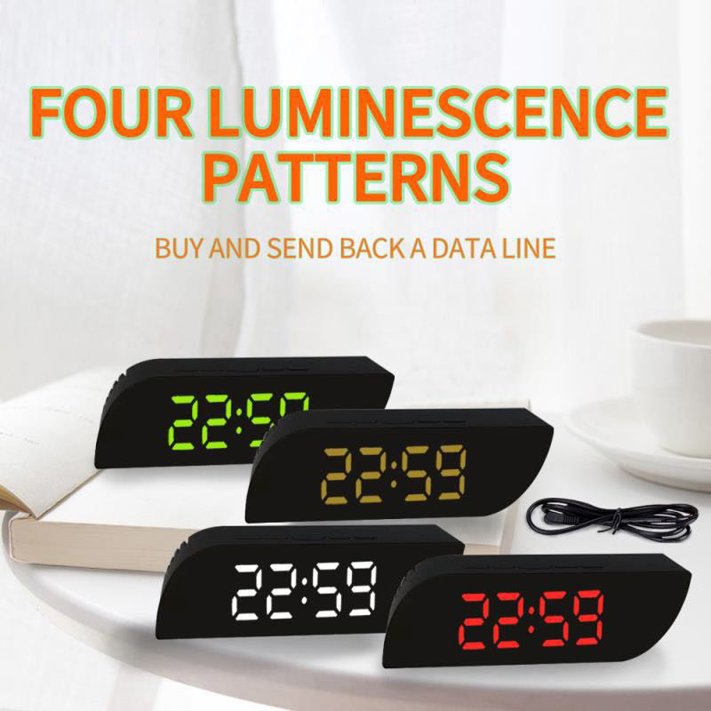 Digital Alarm Clock LED Mirror Clock Multi-function Digital Snooze Table Clock Electronic Temperature Display Home Clock Decor
