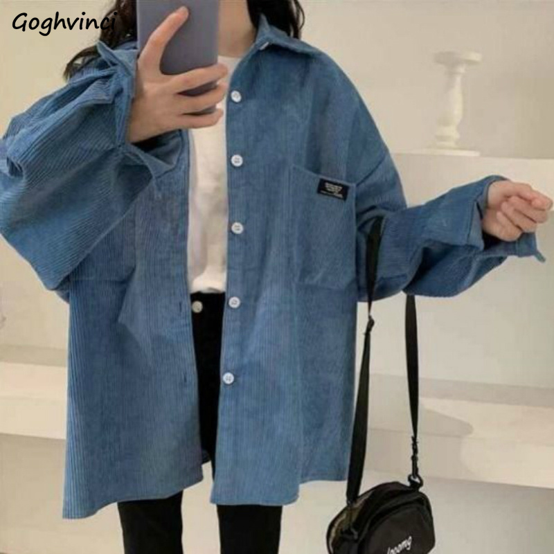 Shirts Women Corduroy Solid Colorful Long Sleeve Casual Autumn Daily Outwear Womens Shirt Tops Students All-match Harajuku Chic