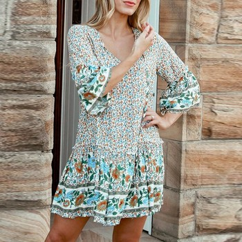 Sukienki damskie sukienki w kwiatowe wzory sukienki w stylu Boho pół z długim rękawem Mini sukienki damskie w kwiatowe wzory casualowe sukienki tenisowe tanie i dobre opinie Poliester Kolan Krótki WOMEN Tennis Dresses Floral Pasuje prawda na wymiar weź swój normalny rozmiar Beach dress