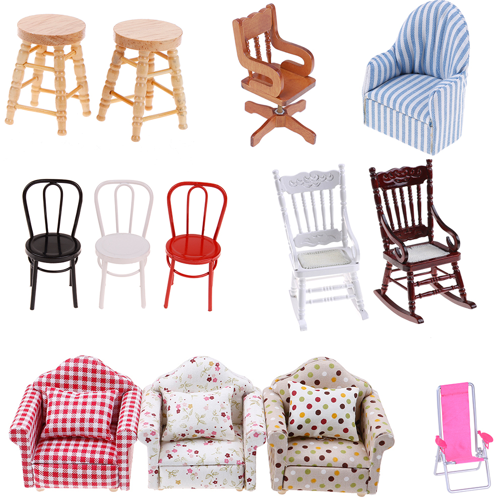 1//12Dollhouse miniature wooden stool chair furniture accessories.decorationC.B