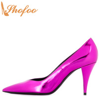 Purple Patent Leather Pointed Toe Pumps Woman Stilettos High Cone Heels Large Size 13 15 Ladies Fashion Office Mature Shoes Shof