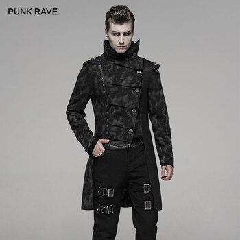 PUNK RAVE Men Punk Handsome Uniforms Fall Winter Coat Fashion Irregular Retro Print Personality Jacket Male Long Windbreaker