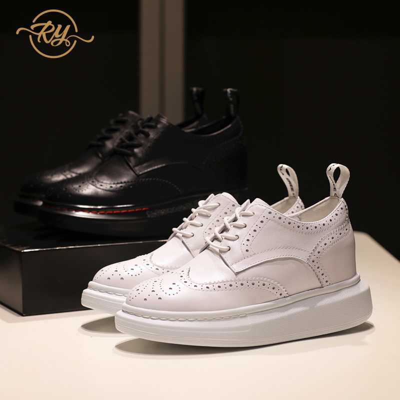 RY-RELAA womens sneakers shoes fashion luxury genuine leather women shoes INS white sneakers wedge sneakers women platform shoes