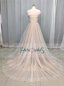 Image 3 - Elegant Wedding Dresses 2019 Off the Shoulder Champagne Wedding Gown 2019 Crystal Beaded Top Tulle Vetsido de Novia WN10