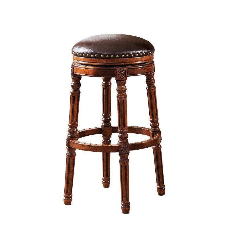 European Bar Chair American Solid Wood Bar Chair Bar Chair High Chair Back Leather Swivel Chair Bar Stool Bar Stool
