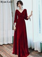 Burgundy Velour Evening Dresses 2020 Women Party Night Formal Long Black Prom Dress Elegant V Neck Floor Length 3/4 Sleeves Gown