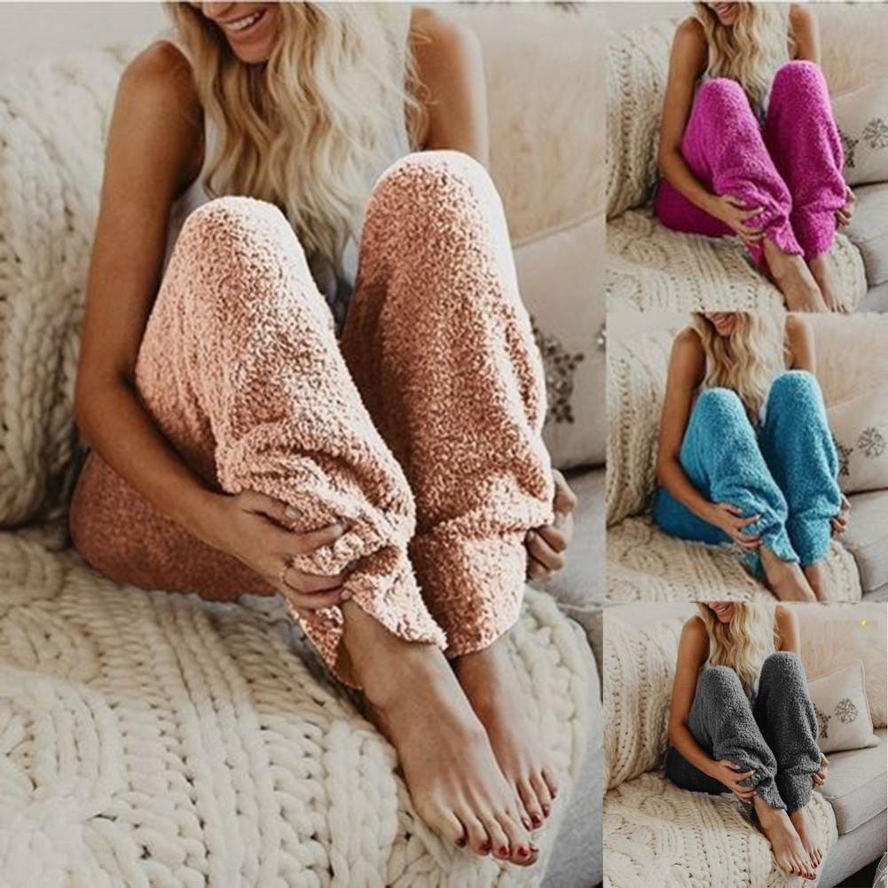 European And American New Women's Warm Sleep Pants Winter Warm Fleece Sleepwear Long Pants Women Solid Color Loungewear Nightwea