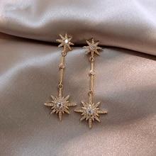 Pendientes largos de estrella de cristal de moda para mujer con pendientes para amigos regalo pendientes de moda pendientes exagerados