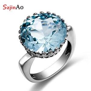 Image 1 - Szjinao Big Vintage Aquamarine Ring For Women Real 925 Sterling Silver Branded Jewellery Handmade Round Gemstones Wedding Ring