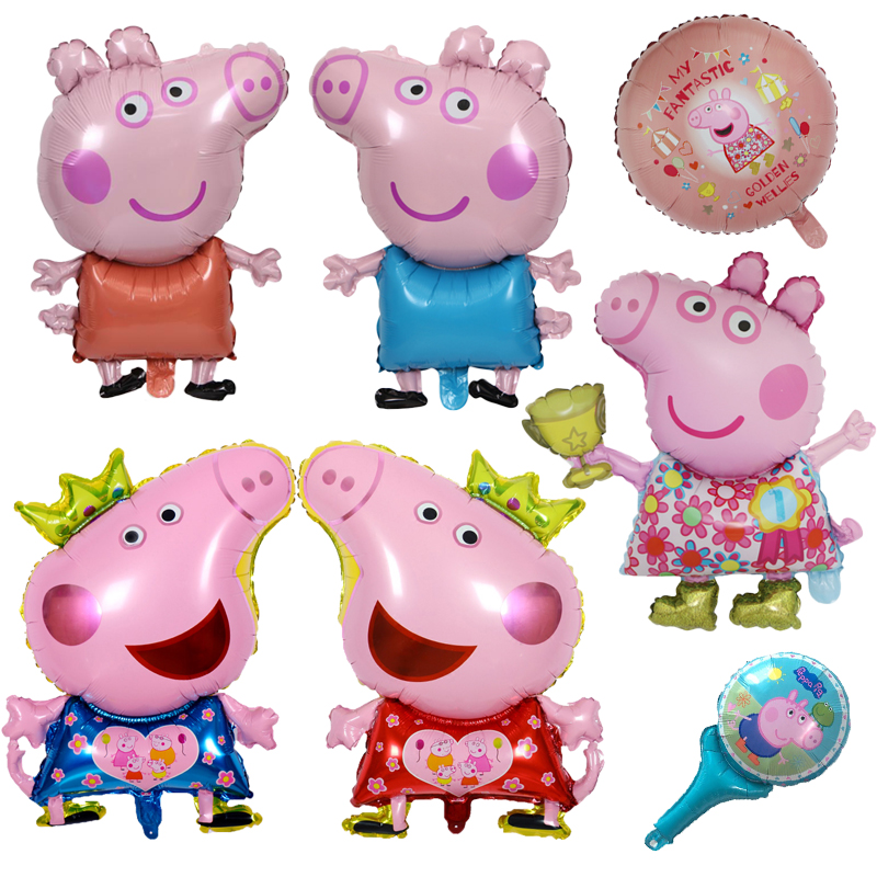 1pcs 18inch Peppa Pig Cute Action Figure Balloon Toys Party Room Dcorations Foil Balloons Peppa Pig Birthday Gift Toys For Kids