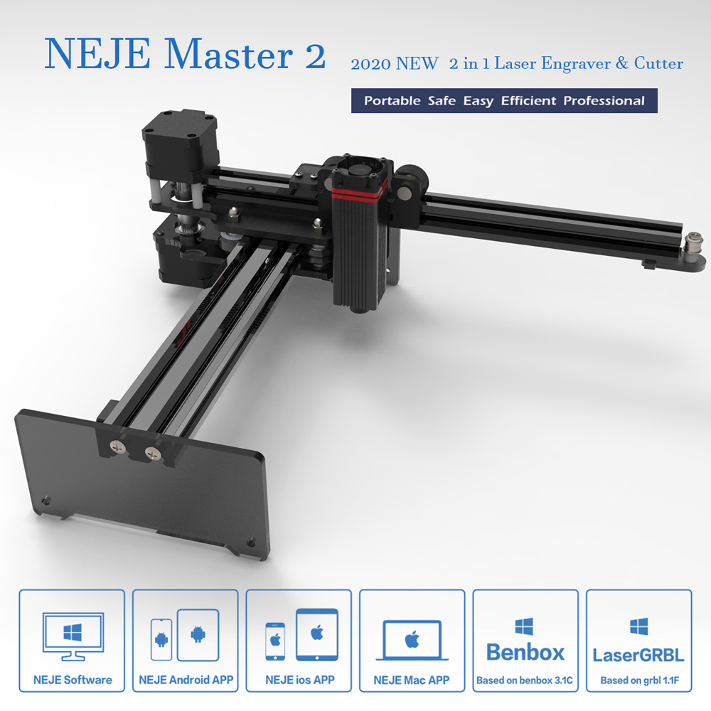 NEJE Master 2 20W Desktop CNC Wood Router Laser Engraver Cutter Laser Engraving Machine APP Control For Windows, Mac , Android