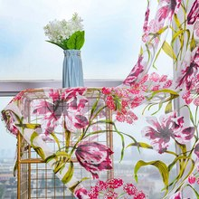 Flower Printed Peony Sheer Curtain Tulle Window Treatments Voile Drape Valance For Living Room Modern