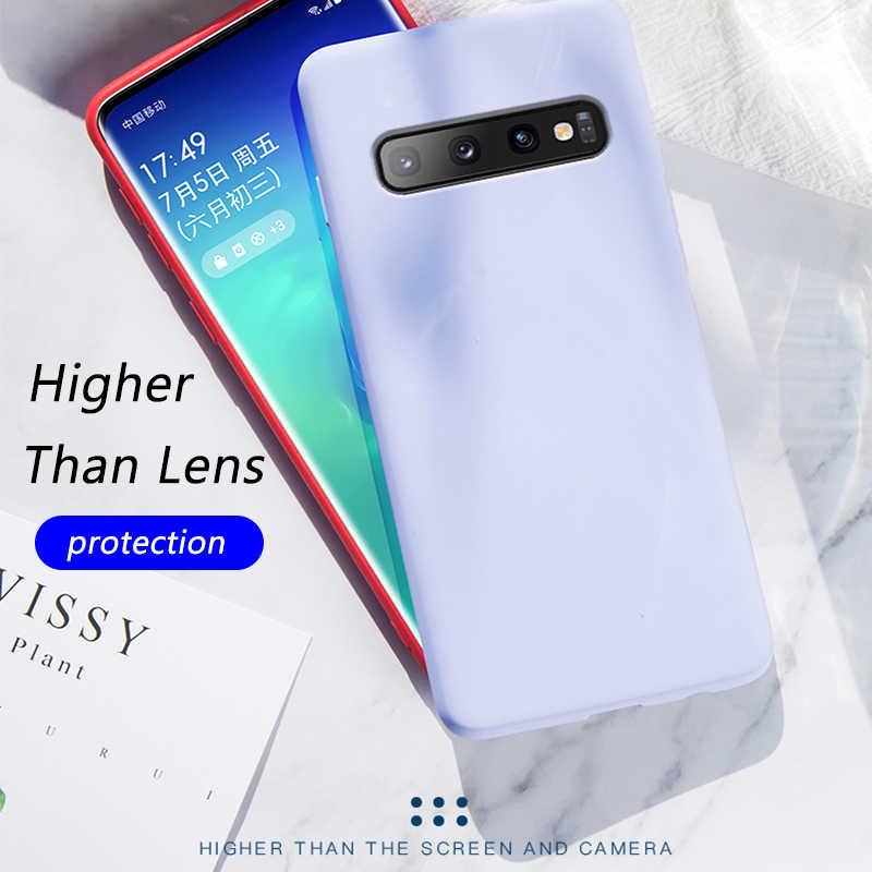 Dünne, Weiche Fall Für Samsung Galaxy S20 Ultra S10e S9 S8 Plus A30 A50 A70 2019 A7 A6 2018 Hinweis 10 9 Original Flüssigkeit Silikon Abdeckung