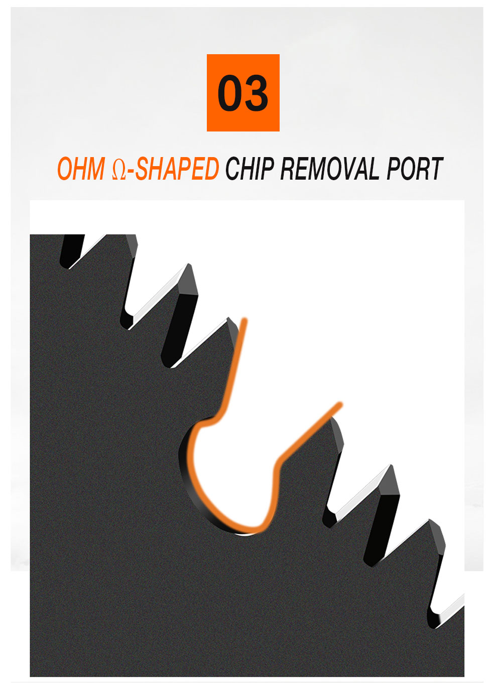 AI-ROAD handsaw OHM shaped chip removal port