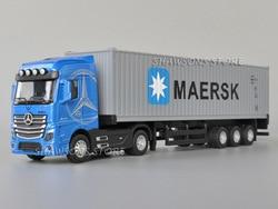 Модель автомобиля под давлением в масштабе 1:50, трактор Actros, контейнерный грузовик, миниатюрная Реплика, игрушка со звуком светильник